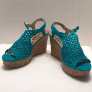 Mudd turquoise cork wedges